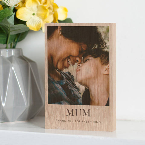 Personalised Solid Oak Or Pine Wooden Photo Block