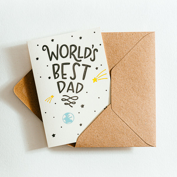 'World's Best Dad' Recycled Coffee Cup Card