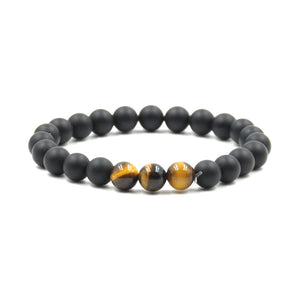 Agate and Tiger Eye Stone Bead Bracelet With Frequency