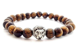 Tiger Eye Stone Lion Bead Bracelet With Frequency