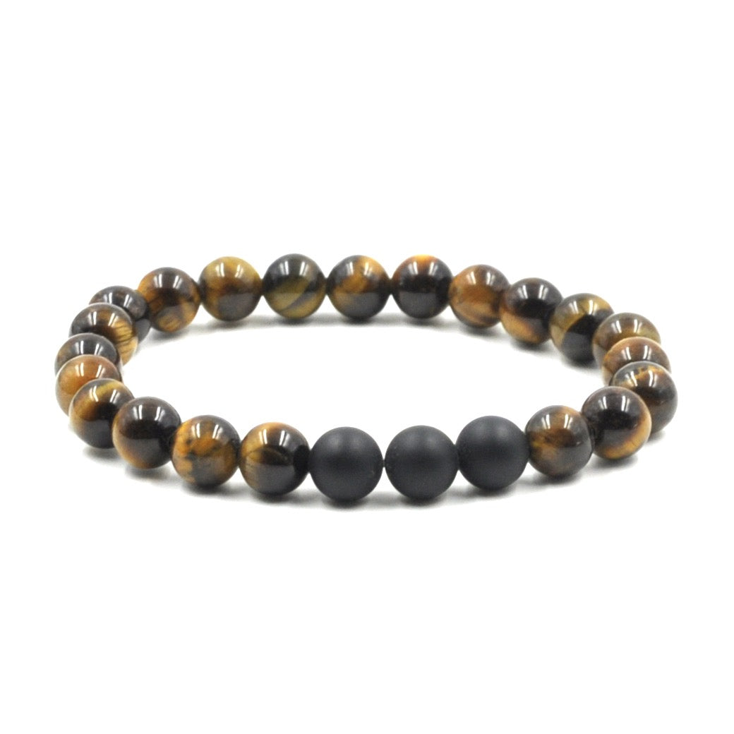 Brown Tiger Eye and Agate Stone Bead Bracelet With Frequency