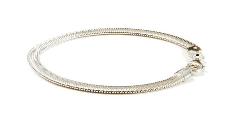 Sterling Silver Flat Snake Chain Bracelet With Frequency