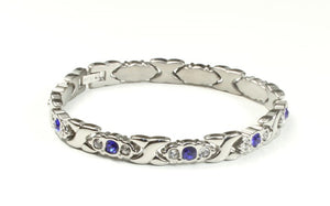 Titanium Bracelet With Frequency Silver Blue Stone