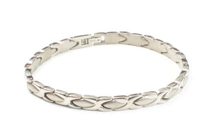 Titanium Women's Bracelet With Frequency Silver Cross Link