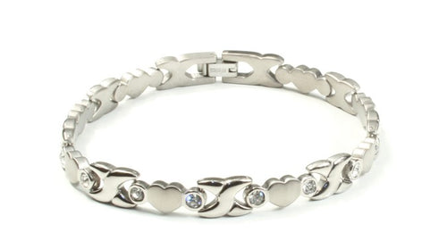 Titanium Women's Bracelet With Frequency Silver Heart Diamond