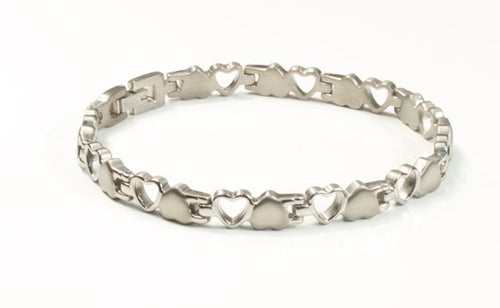 Titanium Women's Bracelet With Frequency Silver Hearts