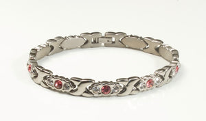 Titanium Women's Bracelet With Frequency Silver Pink Stone