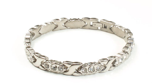 Titanium Women's Bracelet With Frequency Silver Three Stone Diamond