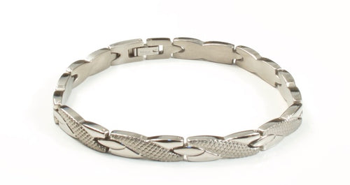 Titanium Women's Bracelet With Frequency Silver Weave
