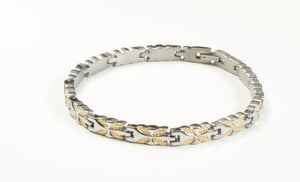 Titanium Women's Bracelet With Frequency Two Tone Butterfly