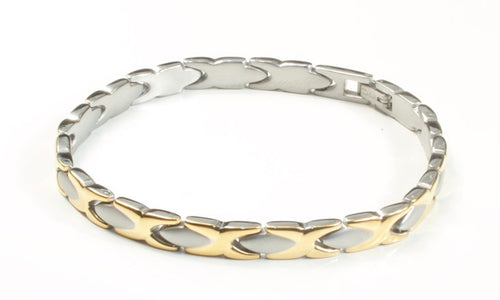 Titanium Women's Bracelet With Frequency Two Tone Cross Link