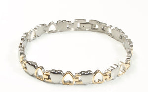 Titanium Women's Bracelet With Frequency Two Tone Hearts
