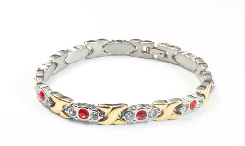 Titanium Women's Bracelet With Frequency Two Tone Red Stone