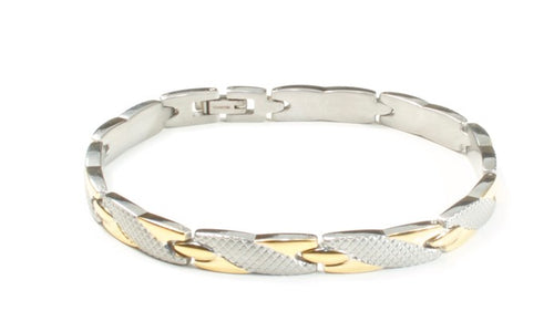 Titanium Women's Bracelet With Frequency Two Tone Weave