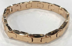 Tungsten Women's Rose Gold Pyramid Bracelet With Frequency