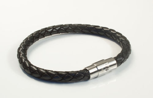 Unisex Black Leather Navigator Bracelet With Frequency