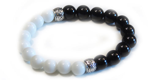 White & Black Unity Bead Bracelet With Frequency