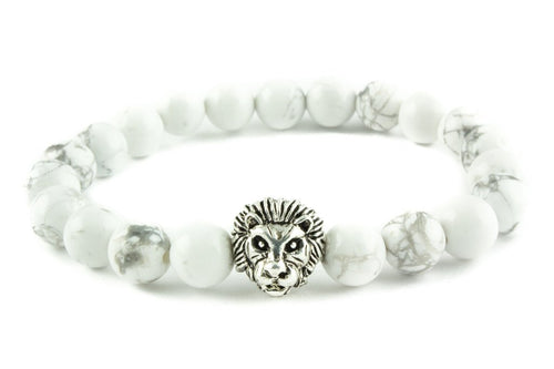 White Bead Lion Bracelet With Frequency