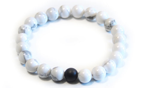 White Turquoise Stone With Black Agate Stone With Frequency