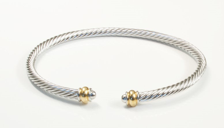 Stainless Steel Cable Bracelet With Frequency Gold Ends