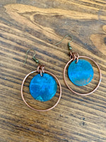 Copper Earrings - Patina Disk & Wire