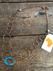 Copper Necklace - Patina Oval Hoop & Loop Chain