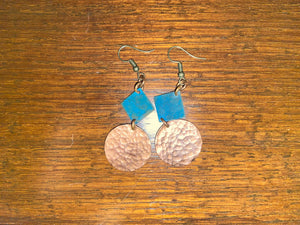 Copper Earrings: Disc and Square Patina