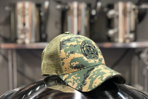 Digital camo trucker snap back