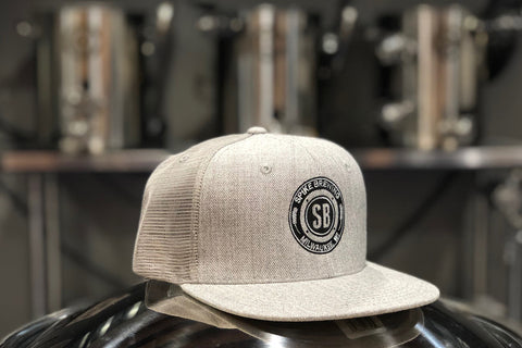 Heather Grey Trucker Hat - Flat Brim