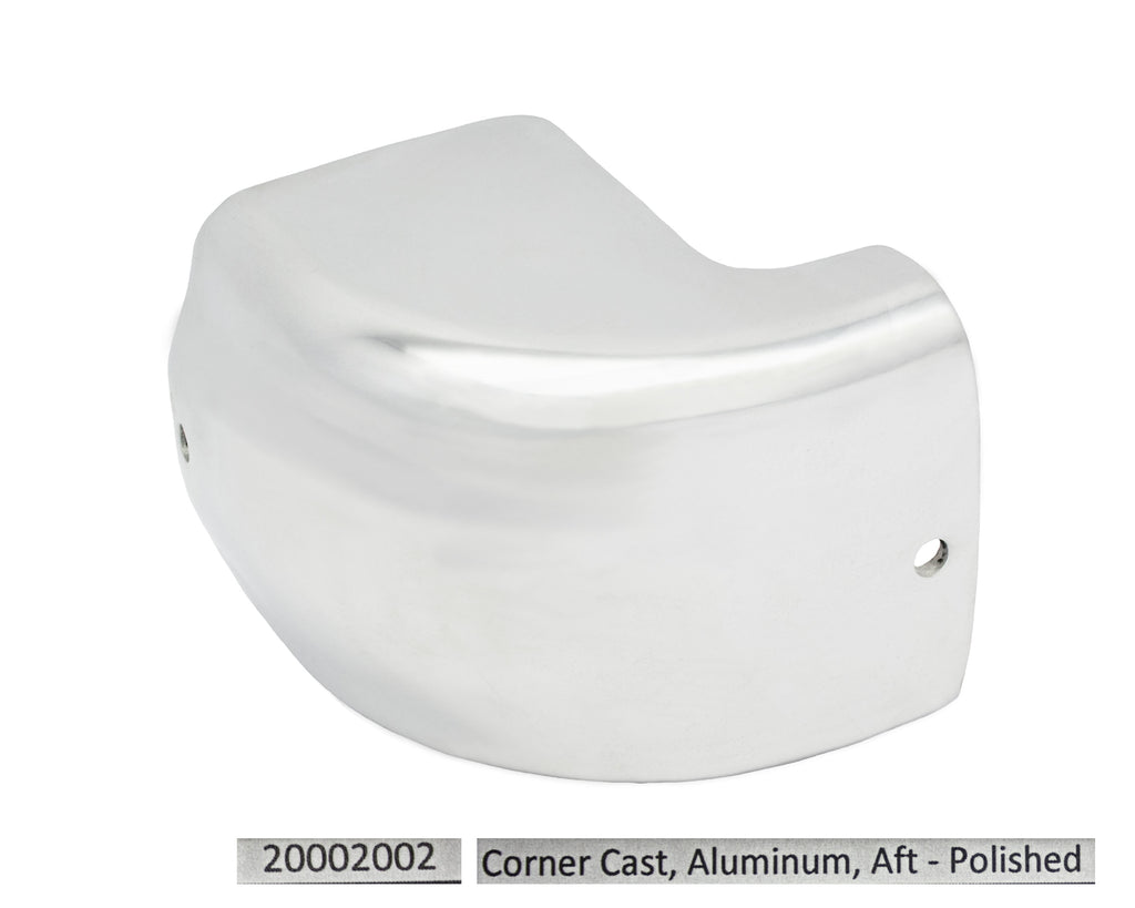 Port & Starboard Corner Casting Rear - Polished Aluminum