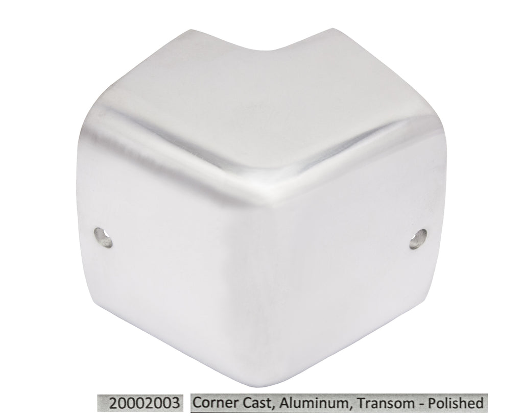 Port & Starboard Corner Casting Outside Transom - Polished Aluminum