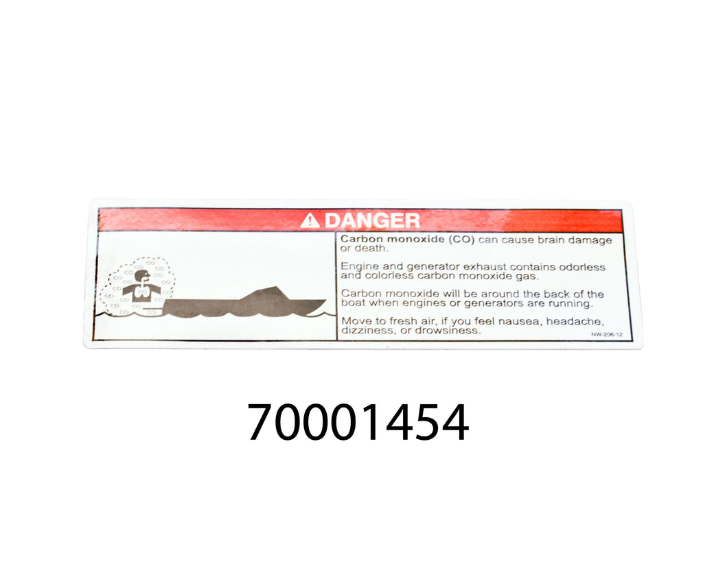 Label - DANGER, Carbon Monoxide (CO) Can Cause Brain Damage