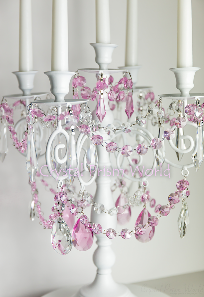 Shabby Chic Candelabra with Crystals