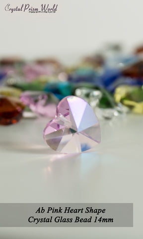 10 Pack AB Pink Heart Glass Bead 14mm | Item#P787 - Crystal Prism World