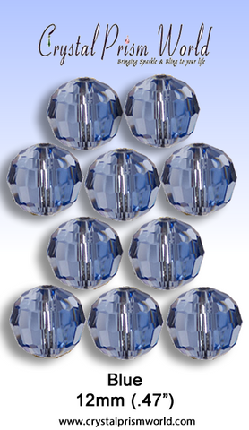 Bead - 10 Pack Blue Glass Bead 12mm W/96 Facets (Model #127)