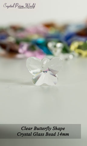 10 Pack Clear Butterfly Glass Bead 14mm | Item#RC787 - Crystal Prism World