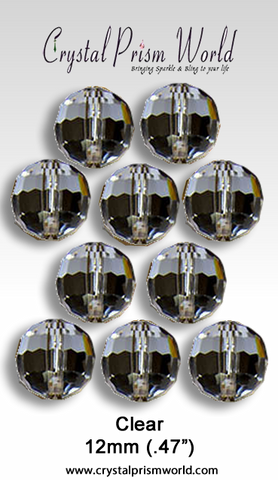 Bead - 10 Pack Clear Faceted Glass Bead 12mm 96 Facets (Model #219)