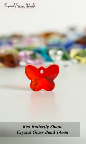 10 Pack Red Butterfly Glass Bead 14mm | Item#R787 - Crystal Prism World
