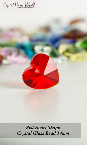 10 Pack Red Heart Glass Bead 14mm | Item#RB787 - Crystal Prism World