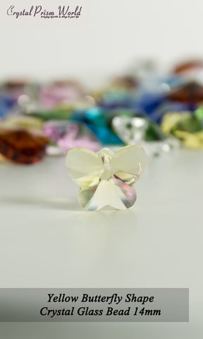 10 Pack Yellow Butterfly Glass Bead 14mm | Item#RY787 - Crystal Prism World