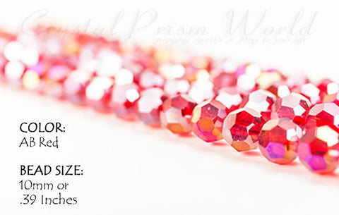 Copy of 10 Pack AB Red Faceted Glass Bead 10mm (Model #B989) - Crystal Prism World