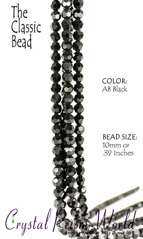 Pck 10, AB Black Faceted Glass Bead 10mm | Item #B2461 - Crystal Prism World