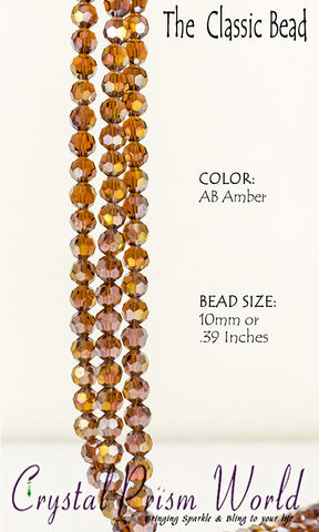 Amber Faceted Glass Bead 10mm (Model #B3750)