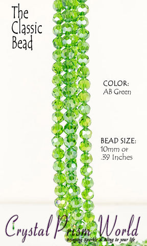 Beads - Pkg 10 AB Green Faceted Glass Beads 10mm (Model #B739)