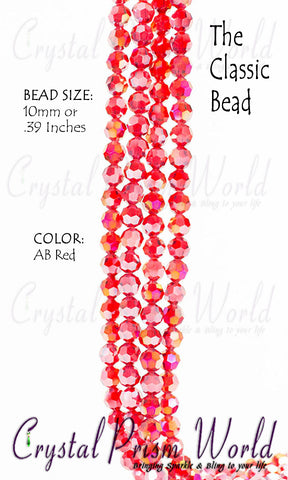 Beads - Pkg 10 AB Red Faceted Glass Bead 10mm | Item #B3875