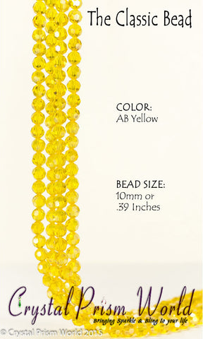 Beads - Pkg 10 Yellow Faceted Glass Bead 10mm | Model #B019