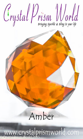 Crystal Ball - Amber Faceted Crystal Ball 40mm | Item #B7154 (Out Of Stock)