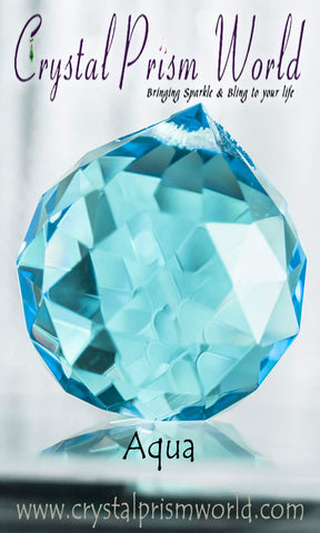 Aqua Faceted Crystal Ball 40mm | Item #B4787 - Crystal Prism World