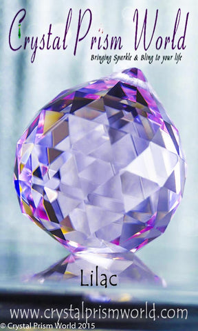 Lilac Faceted Crystal Ball 40mm | Item #B996 - Crystal Prism World
