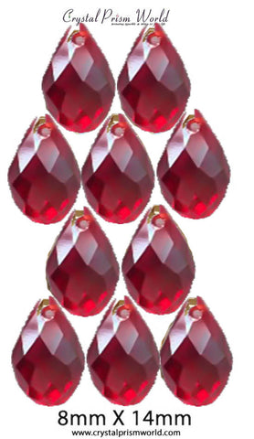 Pkg 10 Red AB Teardrop Bead 8x14mm (Model #619) - Crystal Prism World